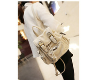 Pocket decoration vintage female fashion backpack preppy style student backpack Korean high quality PU leather