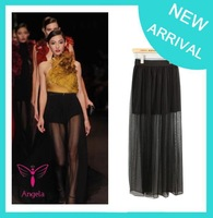 2015 Cheap Women Amazing Sexy Transparent Mesh Long Skirt Fashion Hot Sales Bohemian Princess Skirt saias femininas Free Post