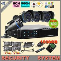 Home CCTV camera system kit MINI 8CH DVR 4pcs 800TVL Day Night IR waterproof Security Camera with 1000GB HDD CCTV Systems