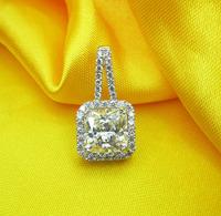 Sterling Silver Necklaces Pendants Princess Cut Diamond Sona Diamond Pendant Wedding Jewelry Sets Silver 925