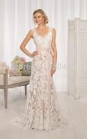 V- neck Cap Sleeve Floor length Court Lace Bowknot Backless Wedding Bridal Gowns Wedding dress 2014 Elegant