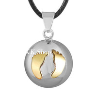Gold Baby Footprints Pregnancy Chime Pendant Angel Caller Wax Leather Necklace Harmony Bola N14NB196