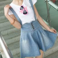 Fashion New 2014 Summer Plus Size Overalls Skirts Womens Straps Saias Femininas Short Denim Skirt Female Fashion Jeans Skirts