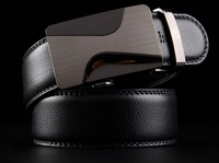 New 2014 belts for men black genuine leather metal bales catch simple line fashion mens cowskin cinto free shipping