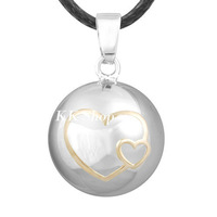 Double Gold Hearts Pregnancy Pendant Angel Caller Wax Leather Necklace Sounds Harmony bola N14NB166