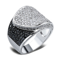 Designer Recommend Ladies Fashion Rings Top Quality Black & White Cubic Zircon Pave Setting Platinum Plated Copper Ring No Lead