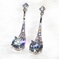 Fashion magazine a bride Earrings pins & needles Zinc Alloy Platinum plating AAA zircon,26 stone grain ALW1863