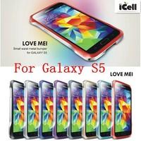 Original LOVE MEI Small Waist Aluminum Alloy Metal Bumper For Samsung Galaxy S5 G900 i9600 ,+Retail MOQ:1pcs free shipping