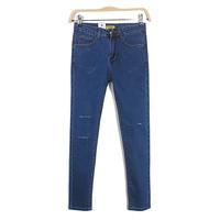 2014 new women's stretch cotton denim hole thin long pencil pants women fashion slim jeans pocket decoration