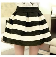 Spring Autumn women high waist black and white striped skirts Girls Mini Retro Flared Skirt Hot Sales Free Shipping
