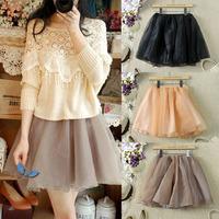 Women Spring New 2014 Summer Short Skirts Womens Cute Tulle Skirt Female Plus Size Pleated Mini Skirt Saias Femininas Vestidos