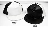 Hot Brand Fashion Snapback For Men Women PU Leather Brim Black White Baseball Cap Adjustable Hat Drop Ship SCX125-M0769