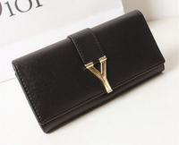 Hot sale Europe Famous Brand Women Handbag 2014 Classic Y Hasp Black Women  women wallet PU Leather Bag Ladies Standard Wallets