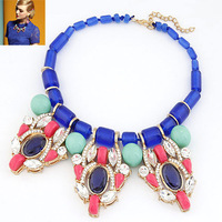 (Min order $15,can mix) Free Shipping New Lines Fashion Jewelry Big Glass Resin Statement Collar Necklaces & Pendants.NE264
