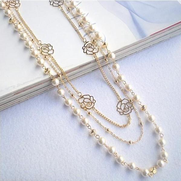 2014 hot Pearl flower pendant White Rose Long necklace woman Rhinestone fashion jewelry XP 009