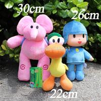 22-30CM,3PCS/LOT,Toy Pocoyo,Plush Stuffed Cartoon Figure,Pink Elephant,Duck Pato,Drop Free Shipping