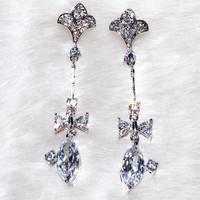 The long Bow Pendant half flower needle earrings Special design AAA zircon,40 stone grain ALW1866