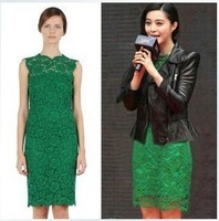 2014 summer new fashion Europe style Slim dress with back bow full lace dress