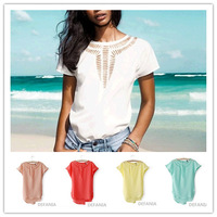 women's carved hollow bat chiffon shirt 2014 summer new fashion camisa femininas loose roupas blouse ladies vintage white tops