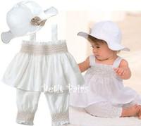 Summer Clothing Set Baby Girl White Hat Vest Pant 3PCS Set Fashion Clothes Set For Baby Girl 2015 New