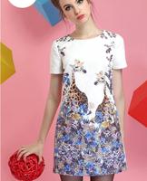 positioning deerlet  printing woman dress  2014  new  dark pattern  short sleeves dress  retail  good quality
