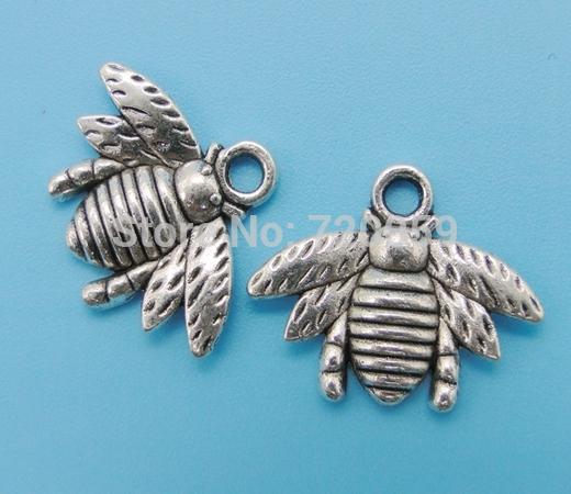 New Fashion Free Shipping Wholesale 50pcs Charm Antique Silver Retro Alloy Honey Bee Pendant DIY Jewelry