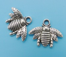 New Fashion Free Shipping Wholesale 50pcs Charm Antique Silver Retro Alloy Honey Bee Pendant DIY Jewelry 16X21mm M824