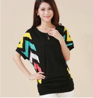 2014 Summer Women Batwing Short Sleeve Pacthwork Chiffon T-shirt O-neck Loose Cotton Plus Size S M L XL XXL XXXL 4XL 5XL Top