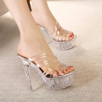 2014 New women High heels shoes fashion Slipper sexy transparent Peep-toe sandals, (gold color)Size 35~39 Free delivery