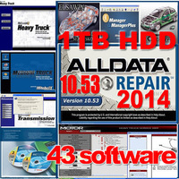 HOT!!! 2014 Auto Repair Software Alldata 10.53+Mitchell 2014+nissan BENZ TOYOTA EPC+ELSA 4.1 etc 43 in1 with 1TB New Hard Disk