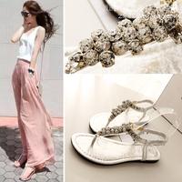 2014 Princess Rhinestone Fashion Female Shoes After The Elastic PinchFlat Fashion Sandals Free Shopping