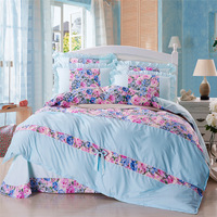 Princess bed skirt aloe vera slanting cotton stripe print four piece set 1.2 1.5 1.8 meters bed