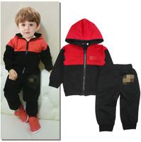 5set/lot wholesale hooded jacket coat pants kid's 2pcs set spring autumn clothes ,boy gril brand jacket pants
