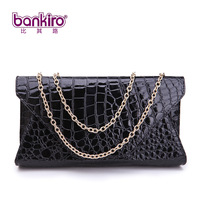 Hot-selling crocodile pattern women's japanned leather handbag chain bag banquet bag fashion women's handbag