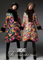 Free shipping !!! new fashion women long down brand jacket ,S-XXL,big size.rabbit  fur collar,Cebus apella female clothing