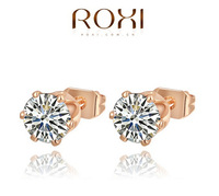ROXI Hot Sell gold Plated Made Genuine Austrian Crystals Stud earrings for women High quality fashion earrings Wholesale 6190