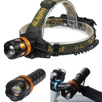 10Pcs CREE T6 LED Headlamp 2000 LM + Adjustable and Rechargeable Multifunctional 3 in 1 LED Headlamp & Flashlight & headlights