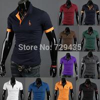 2014 New Men's Short T Shirt Tops Casual Slim Fit Short Sleeve Cotton Men T-shirt Size Brand Man Tee M L XL XXL