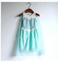 Wholesale girls summer dress frozen princess dress Anna and Elsa dress frozen queen lace party dress for kids Free shipping