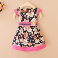 2014 Girls clothing baby print one-piece dress a lacing slim waist summer children l308