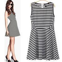2014 new fashion summer casual women  European style big hem sleeveless striped knit dress