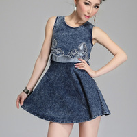 2014 New Summer Korean Women O-neck Tank Sleeveless Mini Denim Dress, Lady Empire Embroidery Patchwork Cute A-line Denim Dresses