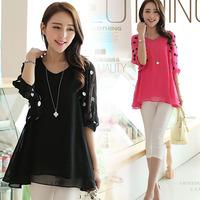 Free shipping 2014 summer new arrive lady casual shirt women's chiffon blouse plus size S,M,L,XL,XXL,3XL,4XL 9510