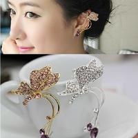 Clip butterfly no pierced earrings big female fashion earring cuff  gold/silver platet for single ear
