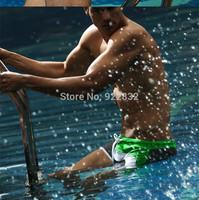 1 Pcs Green+ Gray Men's Boy's New Fashion Swimwear Nylon Sexy Swiming Trunks Swim Shorts Size XXL  XL L