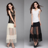 Skirts Womens Lace Skirt Pleated Skirt 2014 Summer Tops For Women Winter Derss Spring New 2014 Chiffon Skirt Saias Femininas