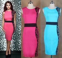 2014 new European and American fashion style printed sleeveless elegant evening dresses sexy bodycon pencil dress