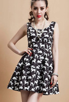 New Fashion summer women cute cartoon cat dressess zipper Casual Dress Hot sale!