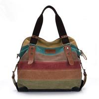 Free shipping 2014 Hot sale Restore Stripe handbag Women's fashion shoulder bag High quality Multicolor patchwork canvas handbag