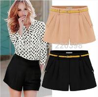 New 2014 summer short pants women chiffon loose cotton casual 3color plus size S-4XL thin mid waist belt shorts women 6680